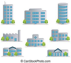 edificio, iconos, conjunto