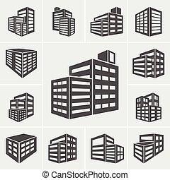 edificio, iconos, ilustración, vector
