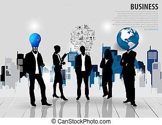 edificio, illustration., empresarios, fondo., siluetas, vector