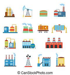 edificio, illustration., fábricas, aislado, conjunto, ...