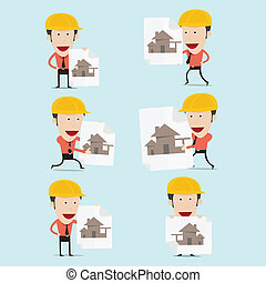 edificio, ilustración, vector, hogar, caricatura, charactor...