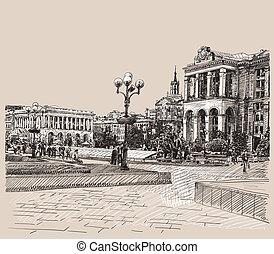 edificio, imagen, bosquejo, kiev, artístico, histórico, ...