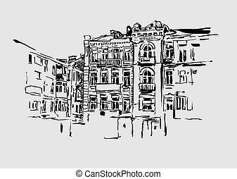 edificio, imagen, kiev, artístico, histórico, original