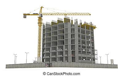 edificio, inacabado, aislado, worksite:, grúa de torre