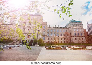 edificio, indiana, indianapolis, capitolio, primavera