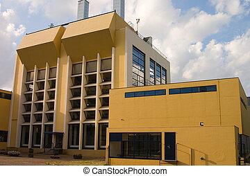 edificio, industrial, amarillo