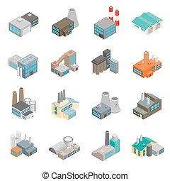edificio, industrial, fábrica, iconos