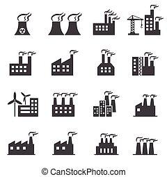 edificio industrial, icono