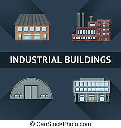 edificio, industrial, iconos del negocio