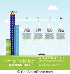 edificio, infographic, oficina