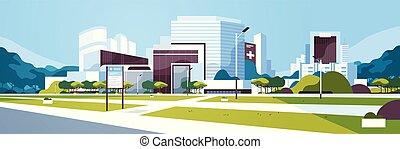 edificio, información, yarda, exterior, plano, grande, ...