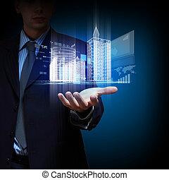 edificio, ingeniería, diseño, automatización