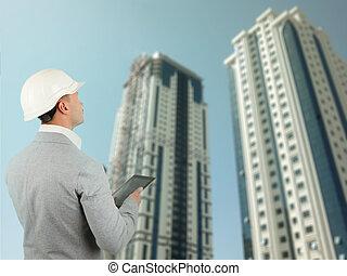 edificio, inspector, estructural, o, ingeniero