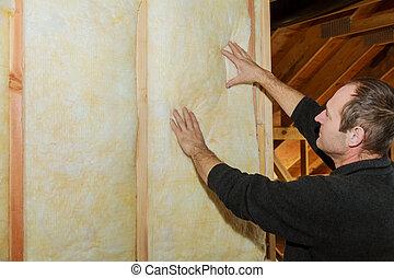 edificio, instalación, pared, dentro, casa, de madera, construcción, debajo, aislamiento