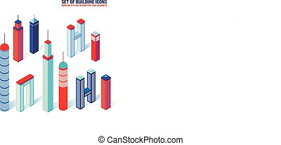 edificio, isométrico, conjunto, iconos, arquitectura, 3d