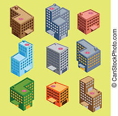 edificio, isométrico