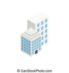 edificio, isométrico, oficina, estilo, icono, 3d