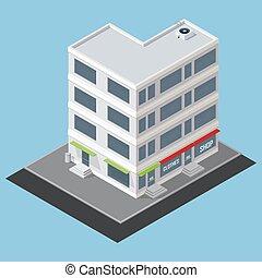 edificio, isométrico, vector