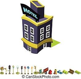 edificio, isométrico, vector, hotel, icono
