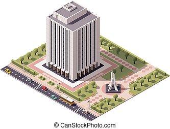 edificio, isométrico, vector, oficina, icono