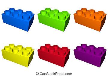 edificio, juego, bloques