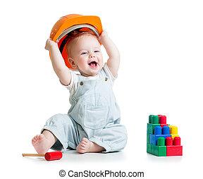 edificio, juguete bloquea, juego, niño