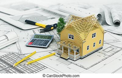 edificio, lápices, nosotros, concepto, render, proceso, casa...