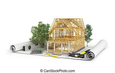 edificio, lápiz, nosotros, concepto, render, proceso, ...