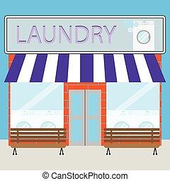 edificio, lavadero, plano, diseño