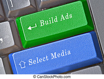 edificio, llaves, selección, anuncio, medios