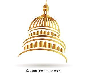 edificio, logotipo, capitolio, oro