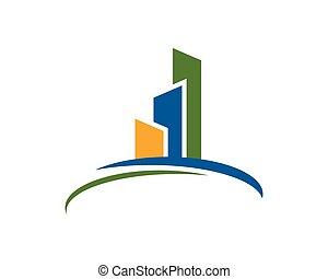 edificio, logotipo, propiedad
