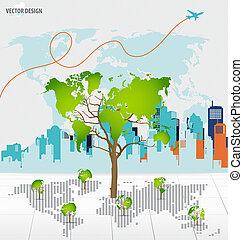 edificio, mapa, formado, árbol, fondo., vector, mundo, ...