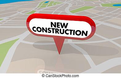edificio, mapa patilla, ilustración, proyecto, construcción, nueva propiedad, 3d