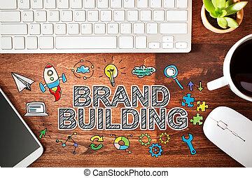 edificio, marca, concepto, estación de trabajo