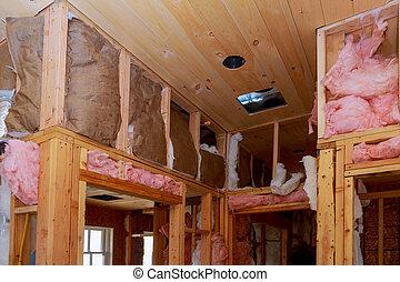 edificio, mineral, pared, aislamiento, dentro, casa, de madera, calor, construcción, debajo, lana