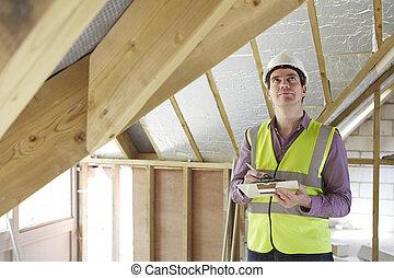edificio, mirar, inspector, propiedad, nuevo