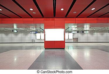 edificio, moderno, anuncio, blanco