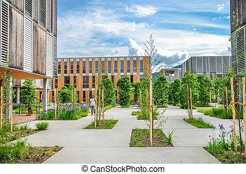 edificio, moderno, campus, educational/office