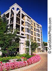 edificio, moderno, condominio