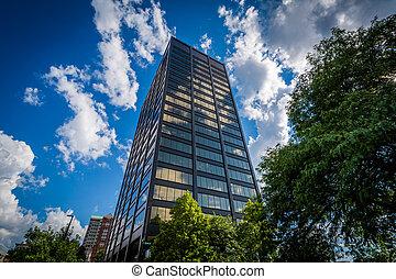 edificio moderno, en, céntrico, manchester, nuevo,...