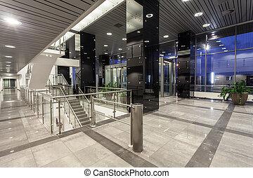edificio, moderno, espacioso