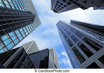 edificio, moderno, paisaje, hong kong