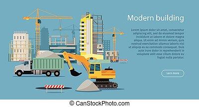 edificio moderno, proceso, bandera, vector, ilustración