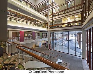 edificio, moderno, vestíbulo, oficina