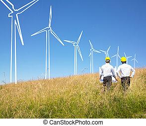 edificio, molinos de viento, ingenieros