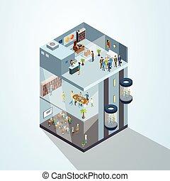 edificio, negocio moderno, centro, oficina