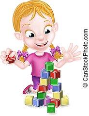 edificio, niña, bloques, juego