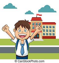 edificio, niño, eduque yarda, divertido, estudiante, feliz