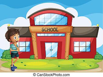 edificio, niño, escuela, frente